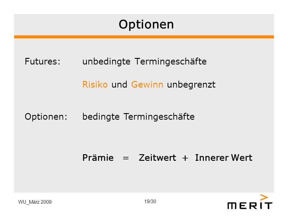 Optionen Futures: unbedingte Termingeschäfte