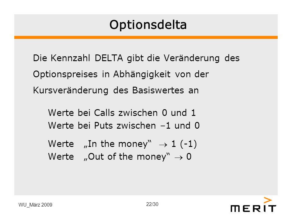 Optionsdelta Die Kennzahl DELTA gibt die Veränderung des Optionspreises in Abhängigkeit von der Kursveränderung des Basiswertes an