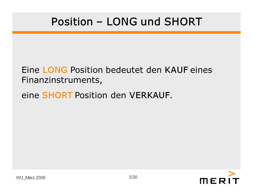 Position – LONG und SHORT