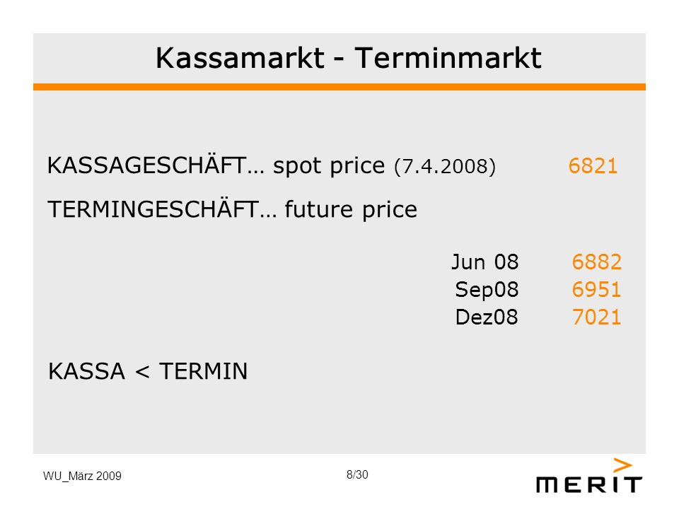 Kassamarkt - Terminmarkt