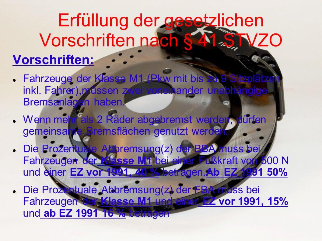 Erfüllung der gesetzlichen Vorschriften nach § 41 STVZO