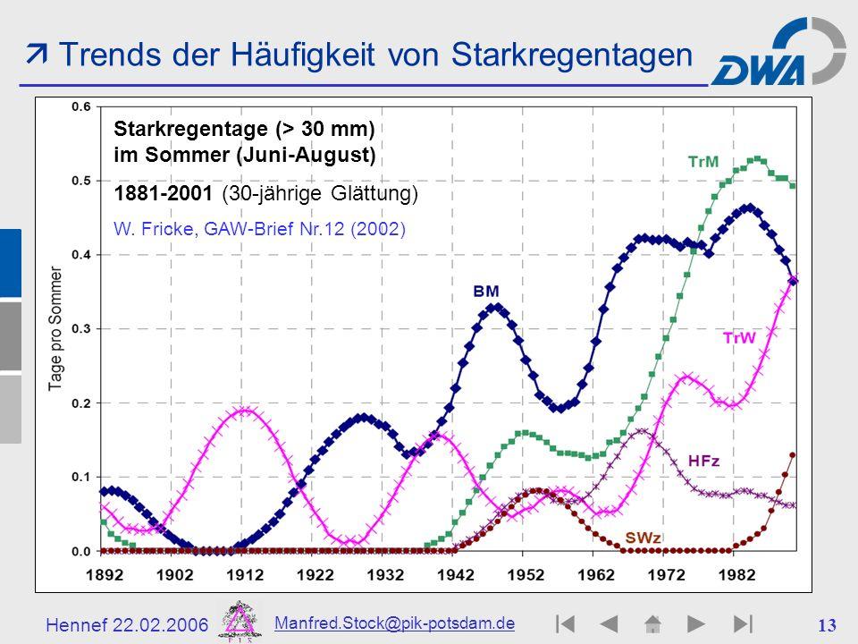  Trends der Häufigkeit von Starkregentagen