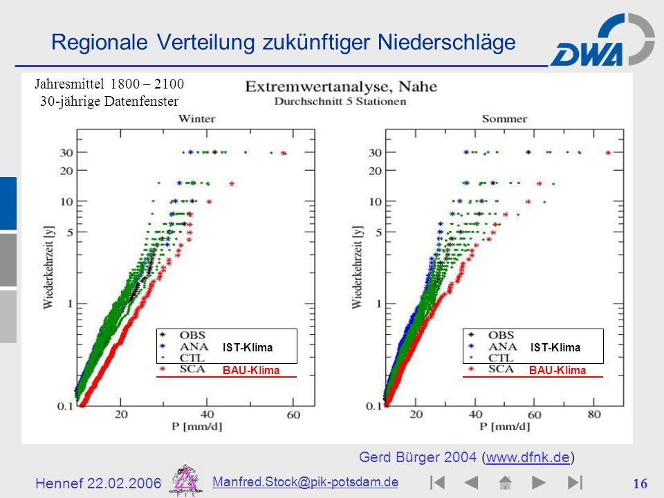 Regionale Verteilung zukünftiger Niederschläge