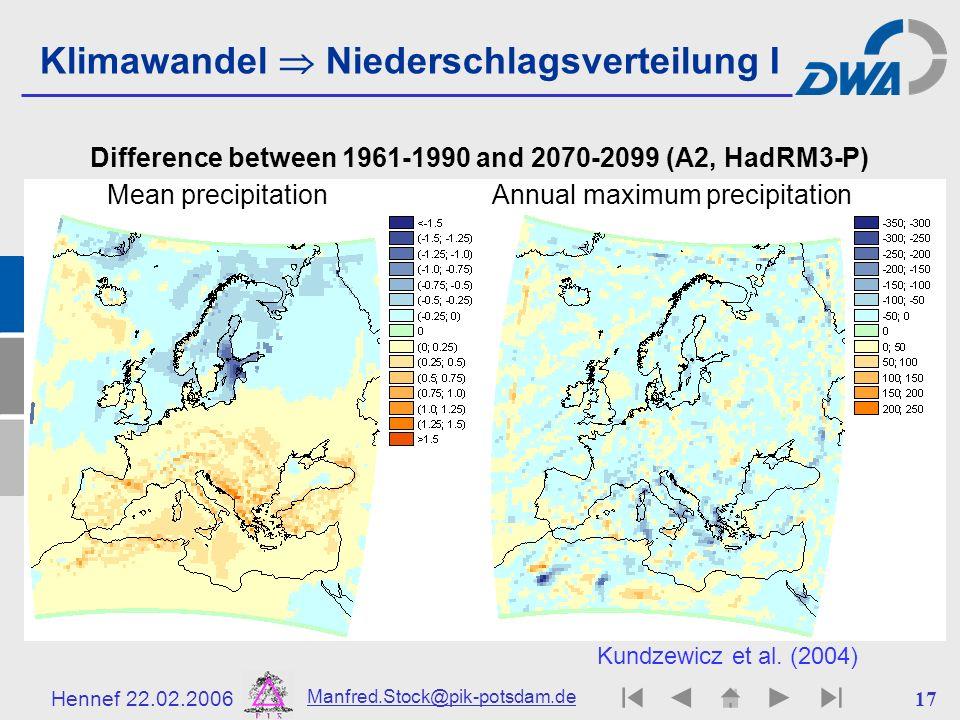 Klimawandel  Niederschlagsverteilung I