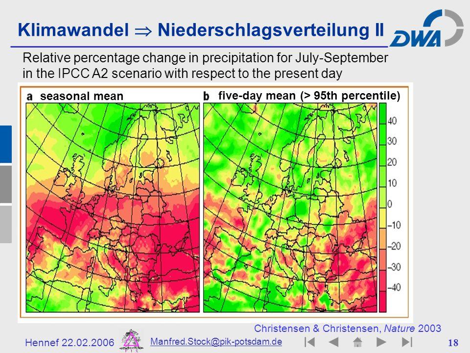 Klimawandel  Niederschlagsverteilung II