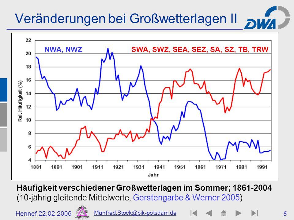 Veränderungen bei Großwetterlagen II