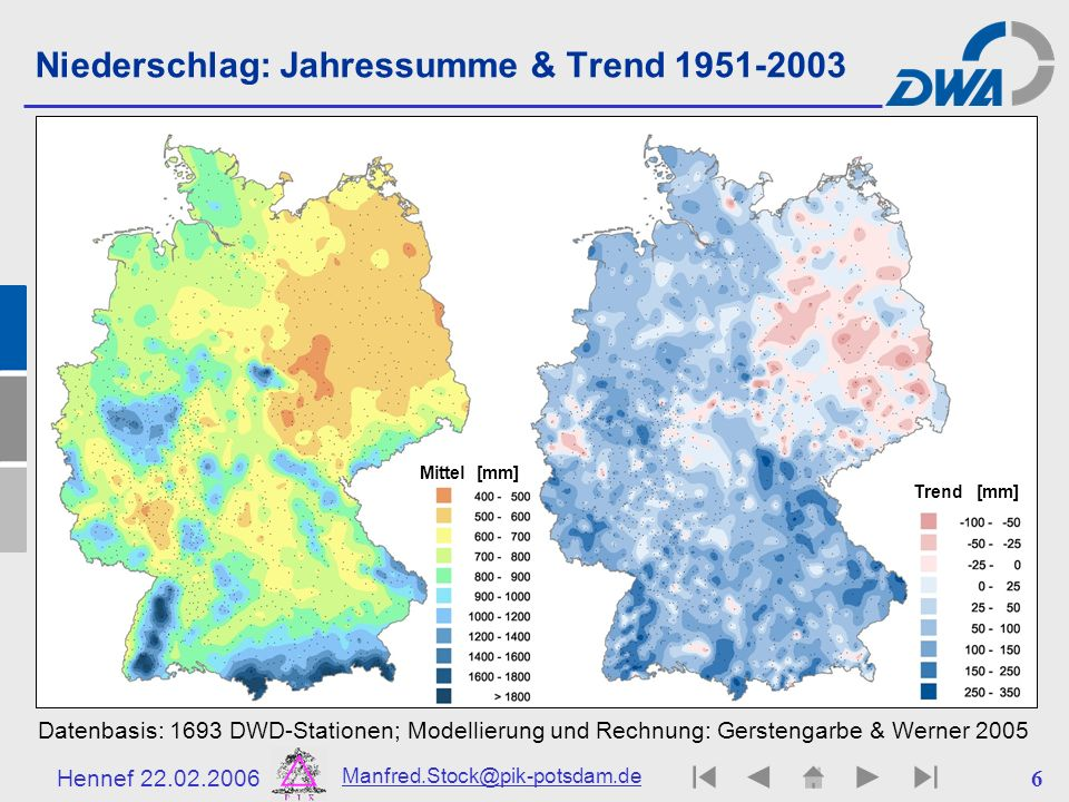 Niederschlag: Jahressumme & Trend 1951-2003