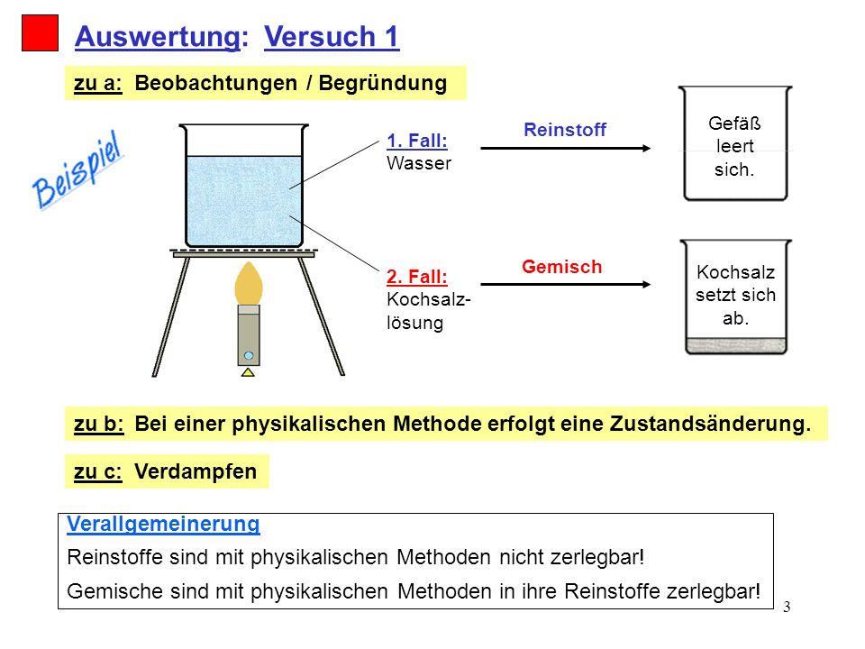 Auswertung: Versuch 1 zu a: Beobachtungen / Begründung zu b: