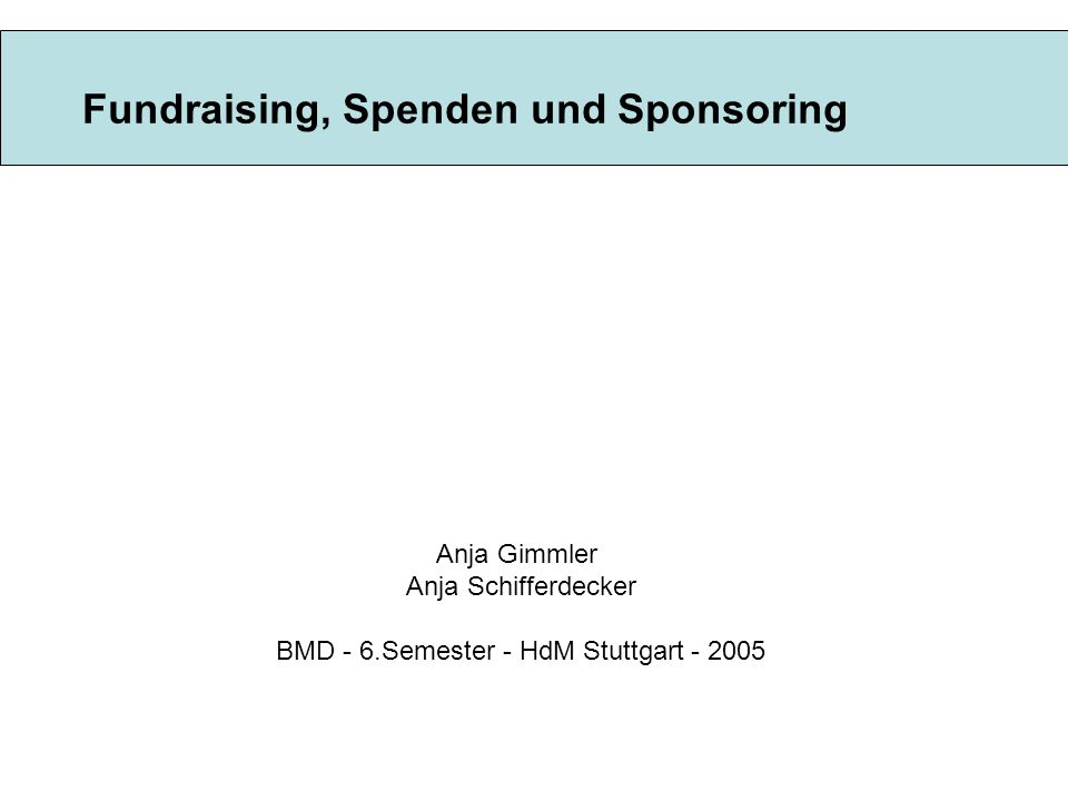 Fundraising, Spenden und Sponsoring