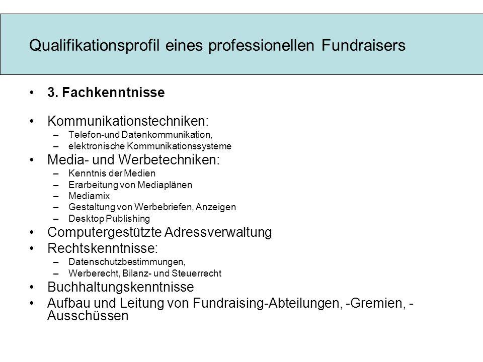 Qualifikationsprofil eines professionellen Fundraisers