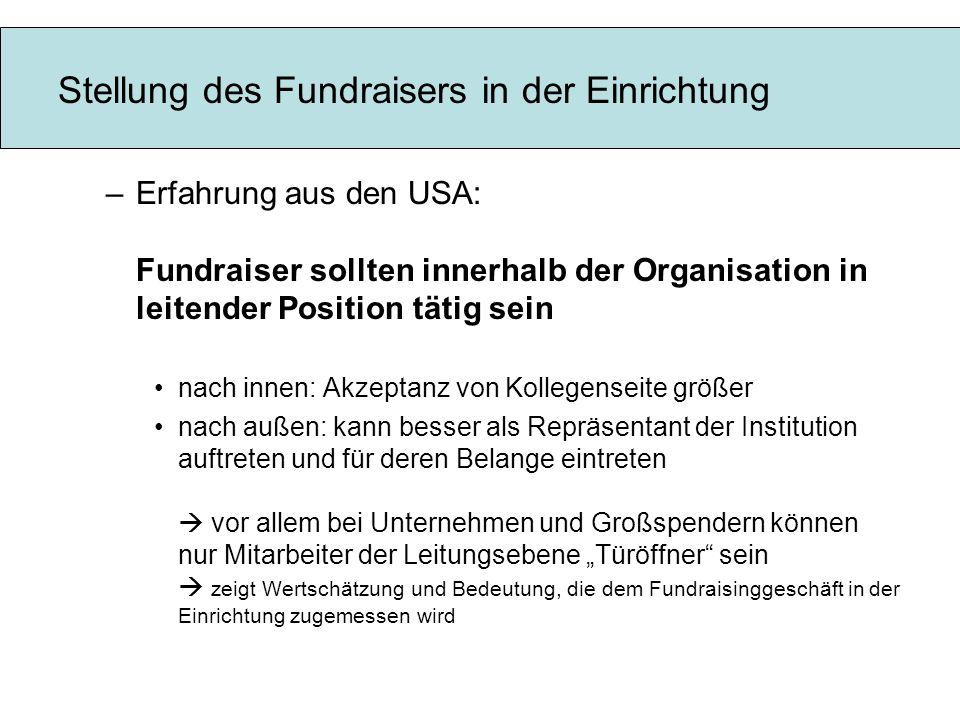 Stellung des Fundraisers in der Einrichtung
