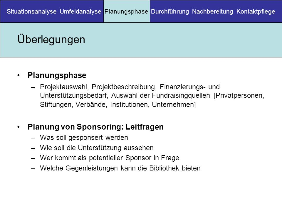 Überlegungen Planungsphase Planung von Sponsoring: Leitfragen