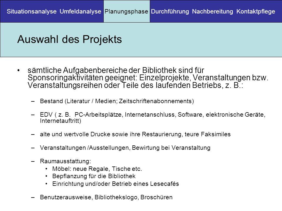 Situationsanalyse Umfeldanalyse Planungsphase Durchführung Nachbereitung Kontaktpflege