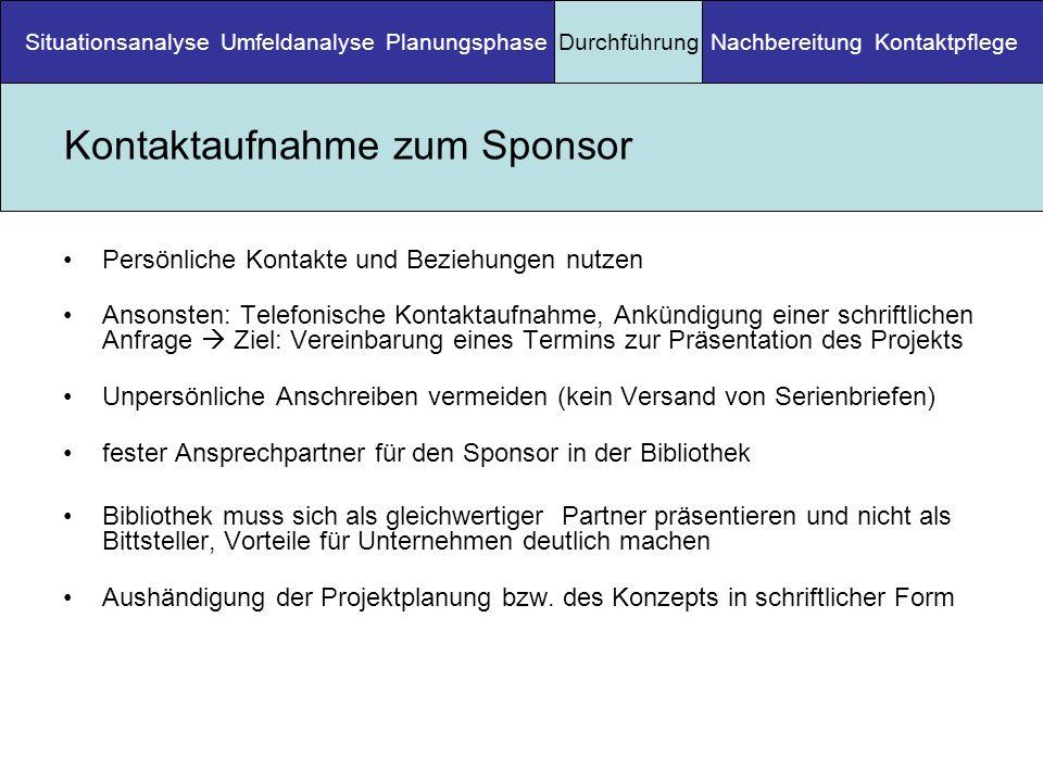 Kontaktaufnahme zum Sponsor