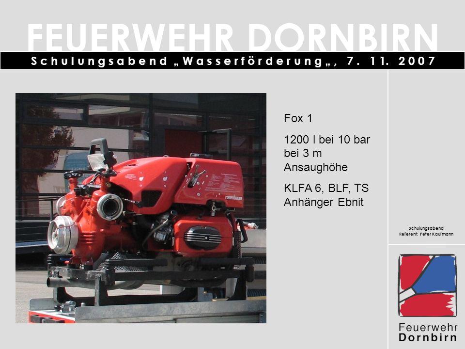Fox 1 1200 l bei 10 bar bei 3 m Ansaughöhe KLFA 6, BLF, TS Anhänger Ebnit