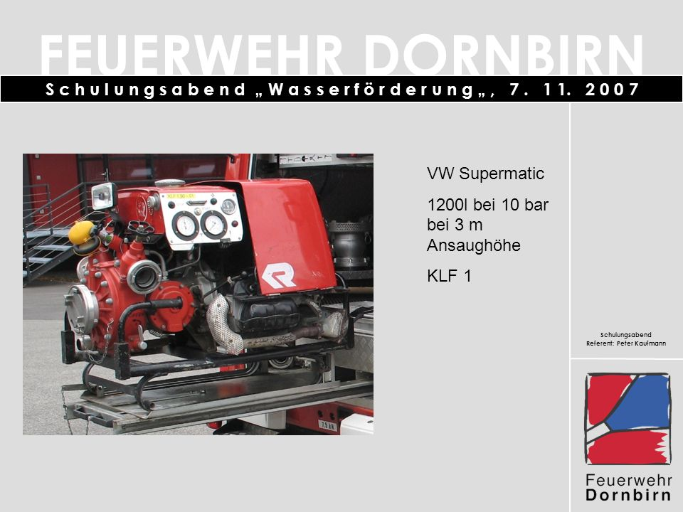 VW Supermatic 1200l bei 10 bar bei 3 m Ansaughöhe KLF 1