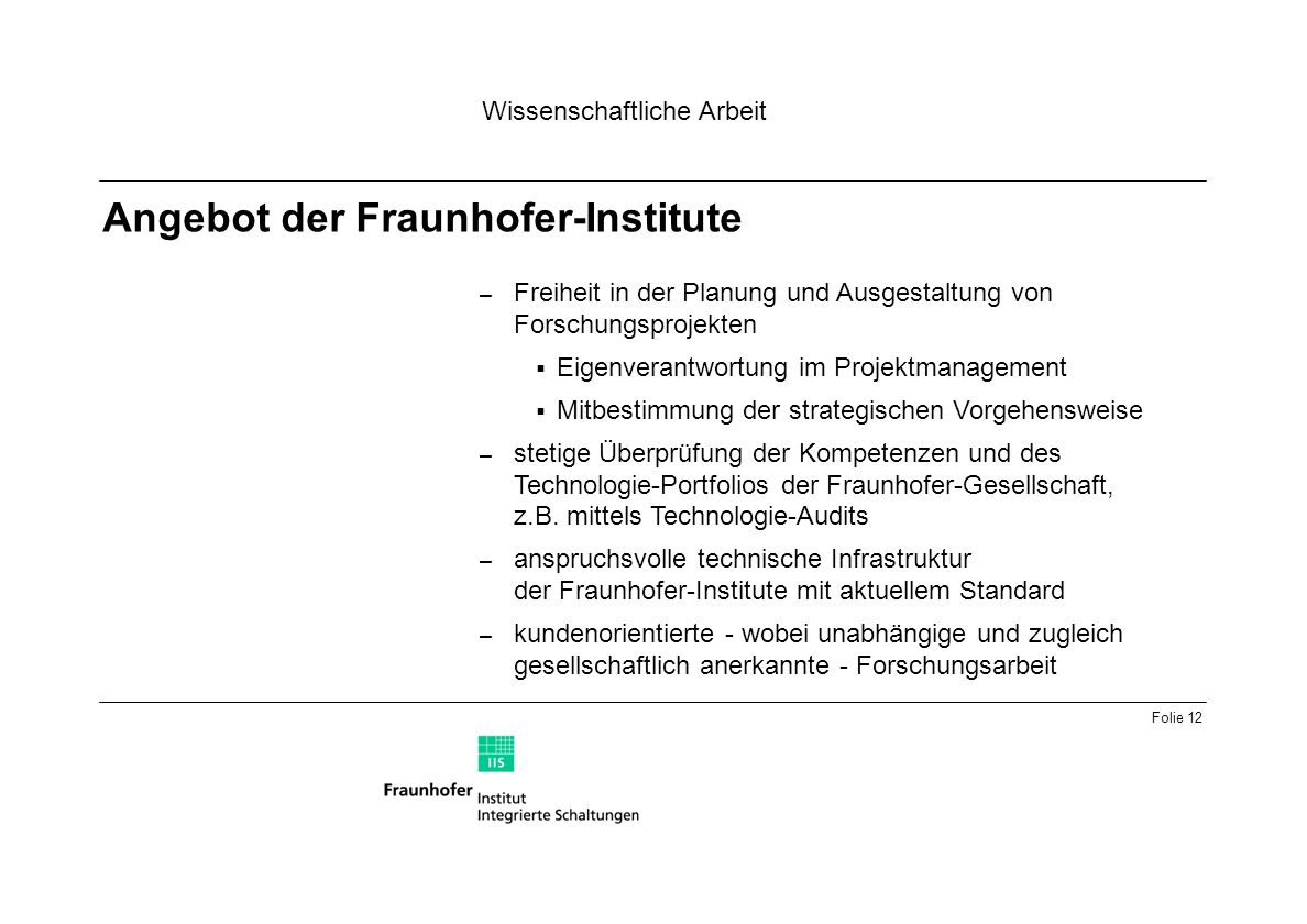 Angebot der Fraunhofer-Institute
