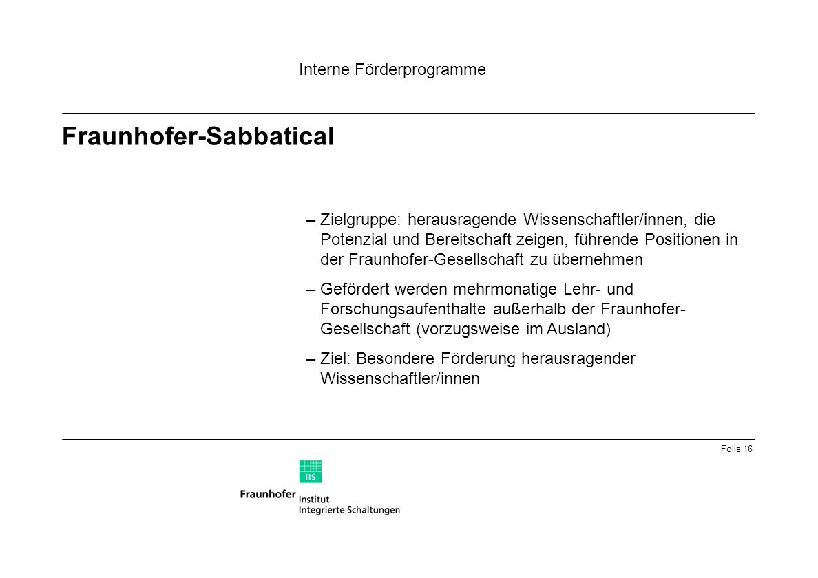 Fraunhofer-Sabbatical
