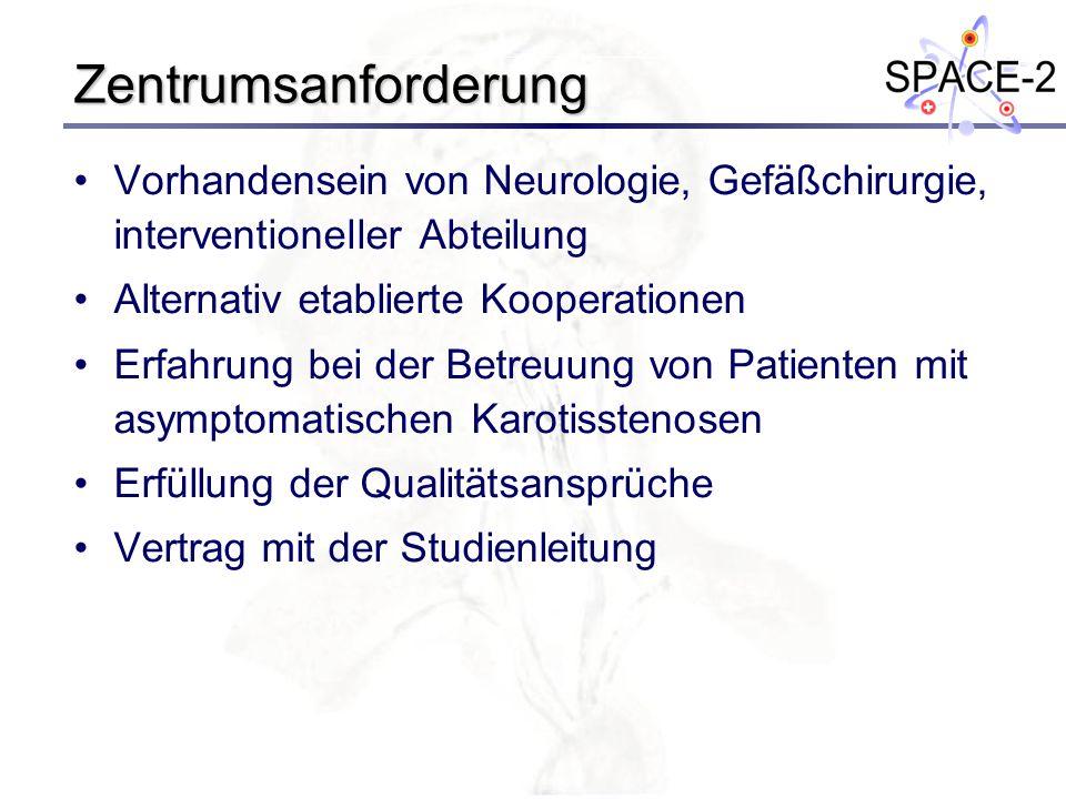 Zentrumsanforderung Vorhandensein von Neurologie, Gefäßchirurgie, interventioneller Abteilung. Alternativ etablierte Kooperationen.