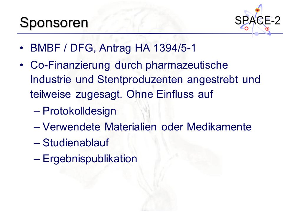 Sponsoren BMBF / DFG, Antrag HA 1394/5-1