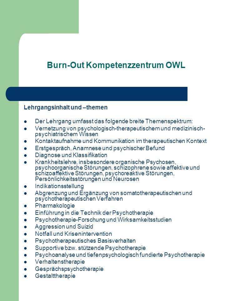 Burn-Out Kompetenzzentrum OWL