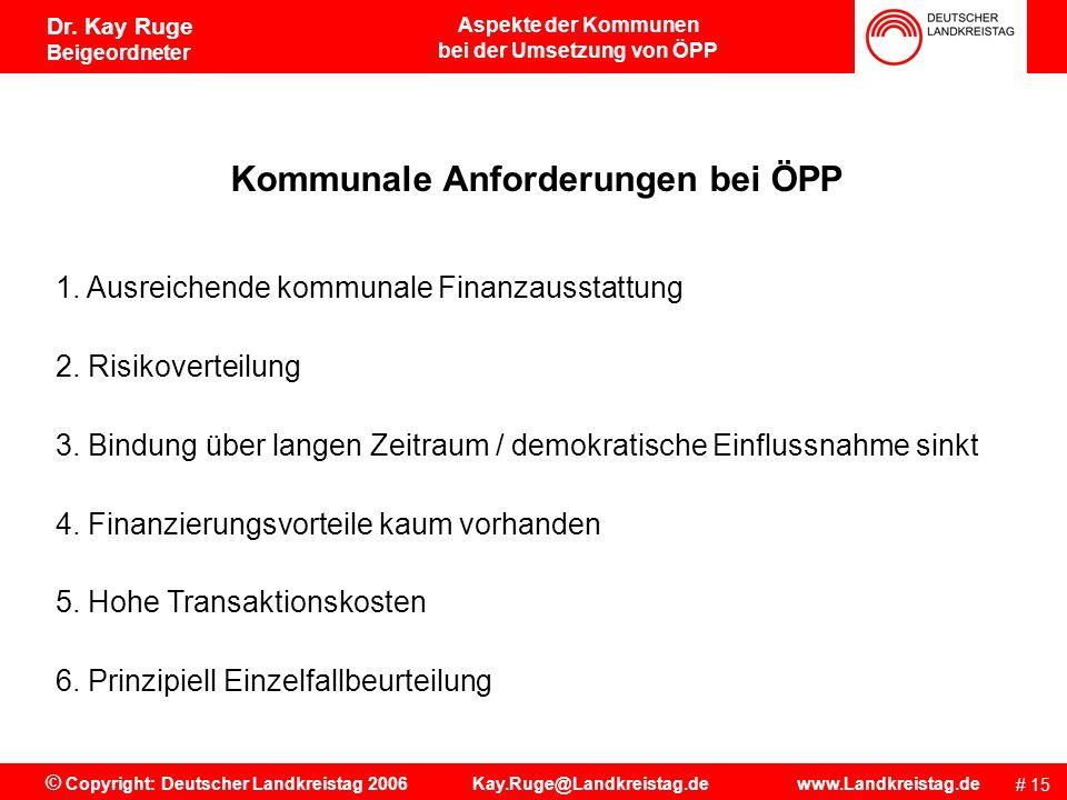 bei der Umsetzung von ÖPP Kommunale Anforderungen bei ÖPP