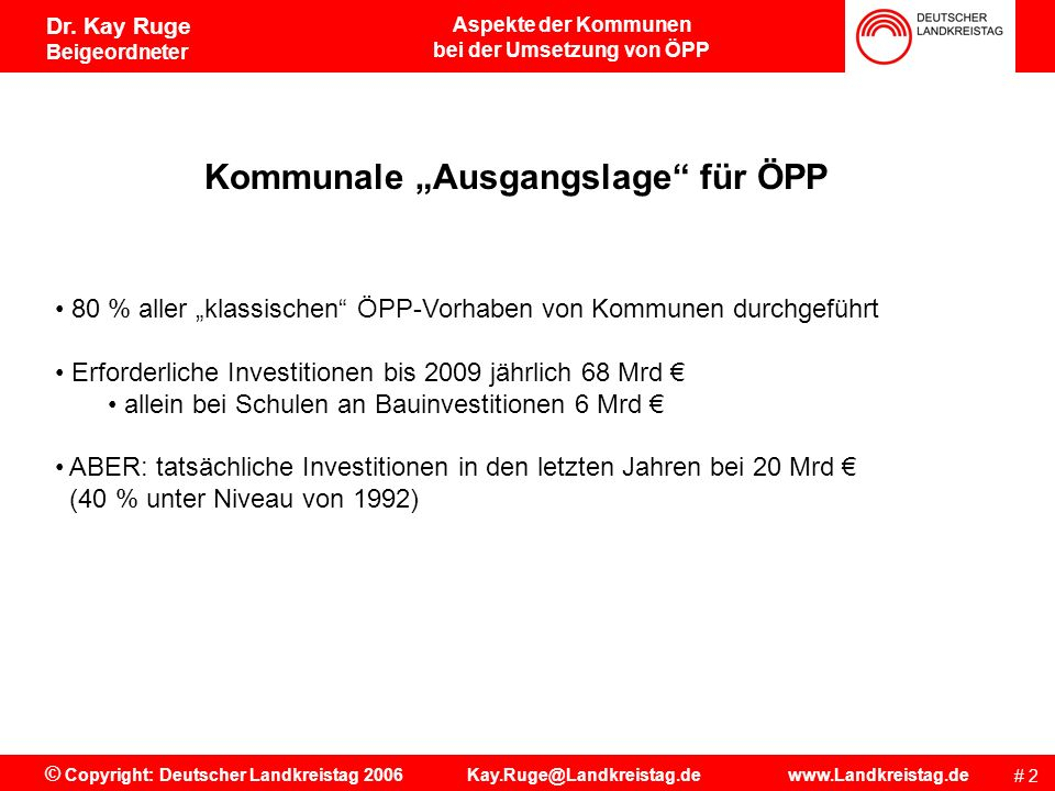 """bei der Umsetzung von ÖPP Kommunale """"Ausgangslage für ÖPP"""