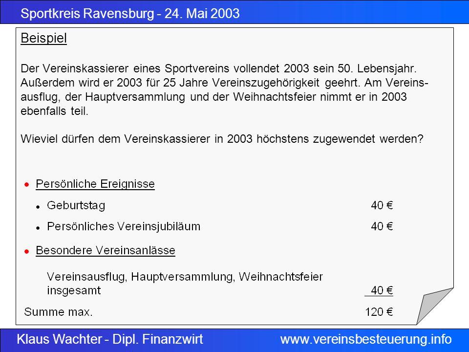 Beispiel Der Vereinskassierer eines Sportvereins vollendet 2003 sein 50.