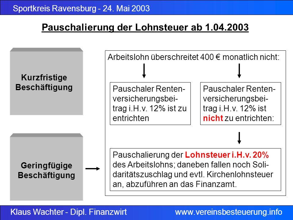 Pauschalierung der Lohnsteuer ab 1.04.2003
