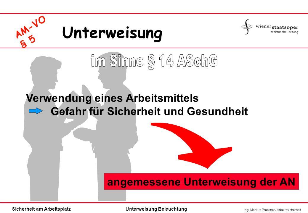 Unterweisung im Sinne § 14 ASchG Verwendung eines Arbeitsmittels