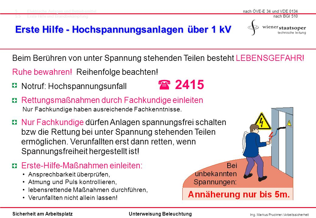 ( 2415 Erste Hilfe - Hochspannungsanlagen über 1 kV