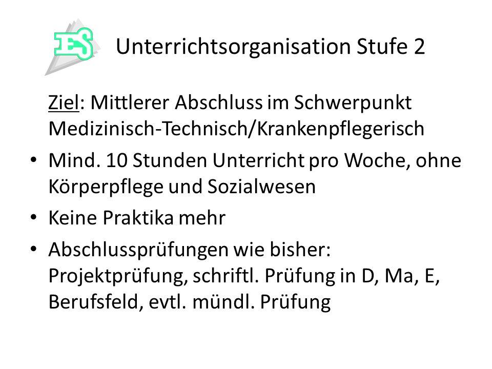 Unterrichtsorganisation Stufe 2