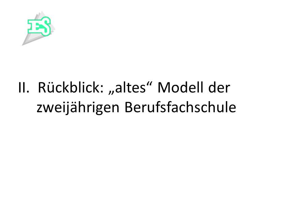 """II. Rückblick: """"altes Modell der zweijährigen Berufsfachschule"""