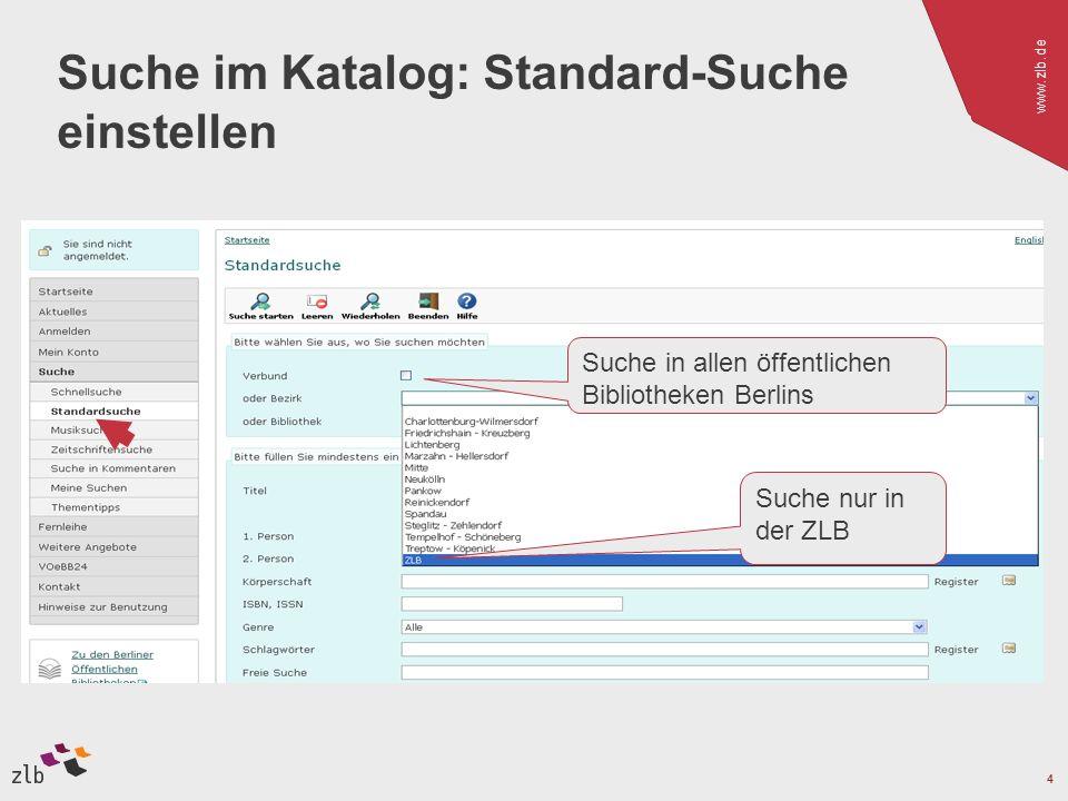 Suche im Katalog: Standard-Suche einstellen