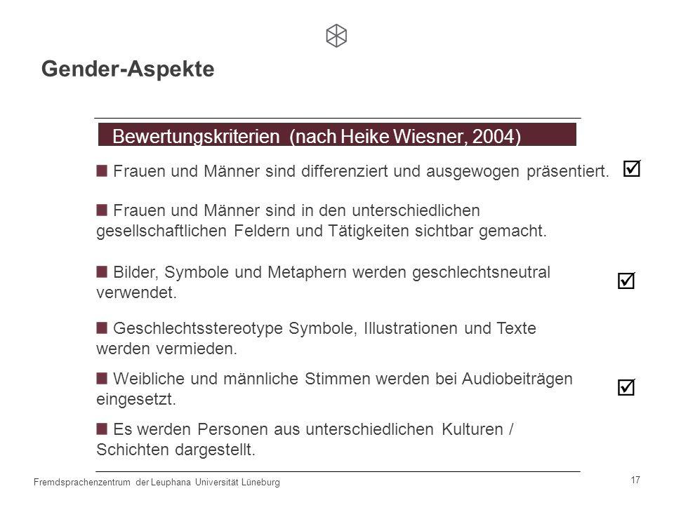 Gender-Aspekte  Bewertungskriterien (nach Heike Wiesner, 2004)
