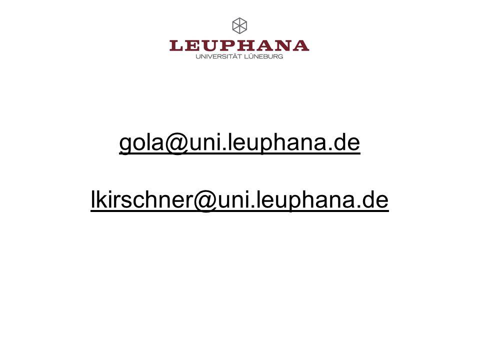 gola@uni.leuphana.de lkirschner@uni.leuphana.de
