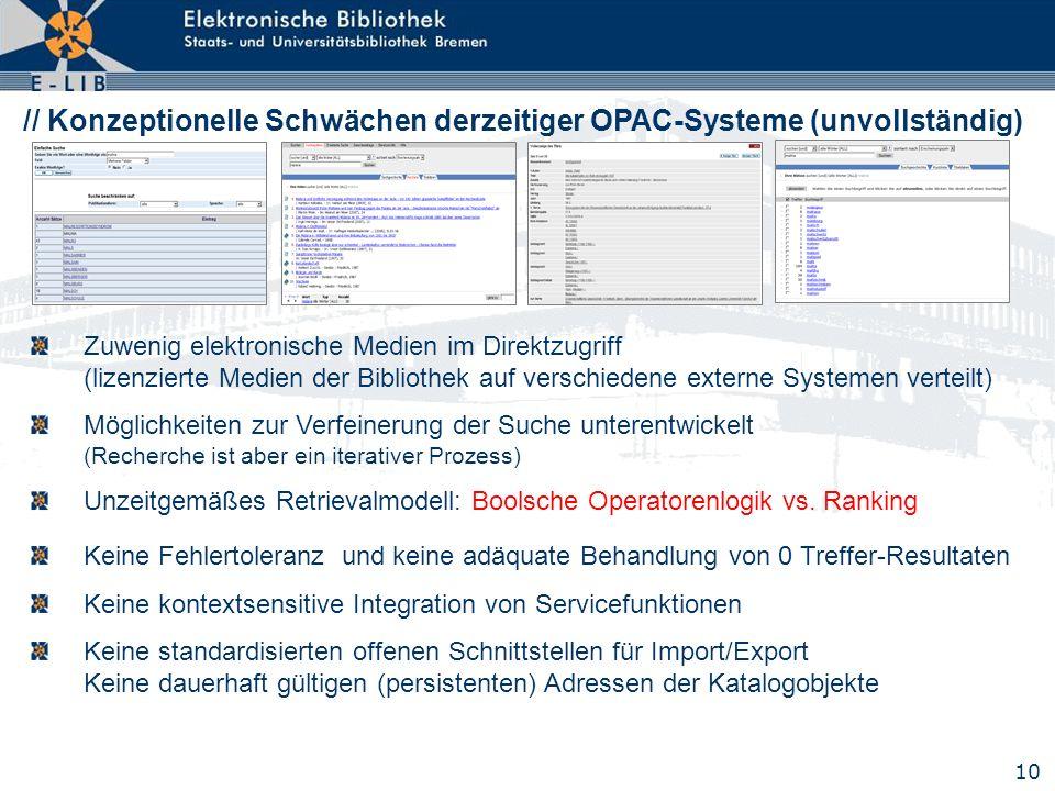 // Konzeptionelle Schwächen derzeitiger OPAC-Systeme (unvollständig)