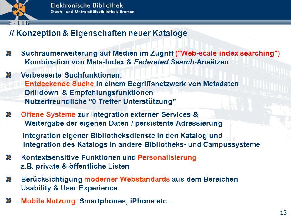 // Konzeption & Eigenschaften neuer Kataloge