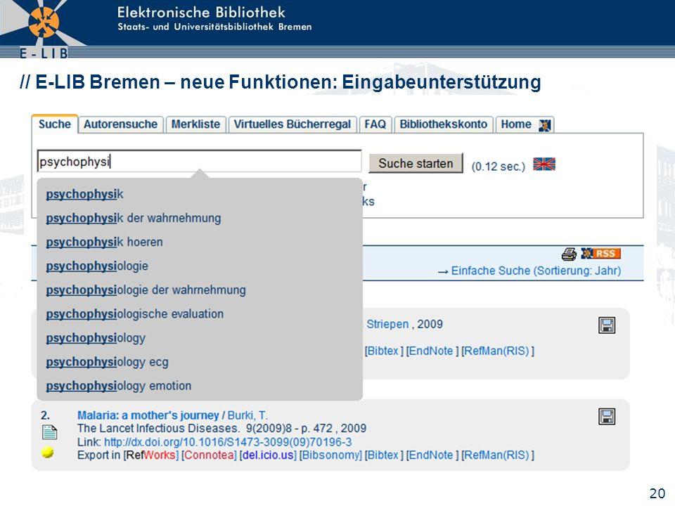 // E-LIB Bremen – neue Funktionen: Eingabeunterstützung