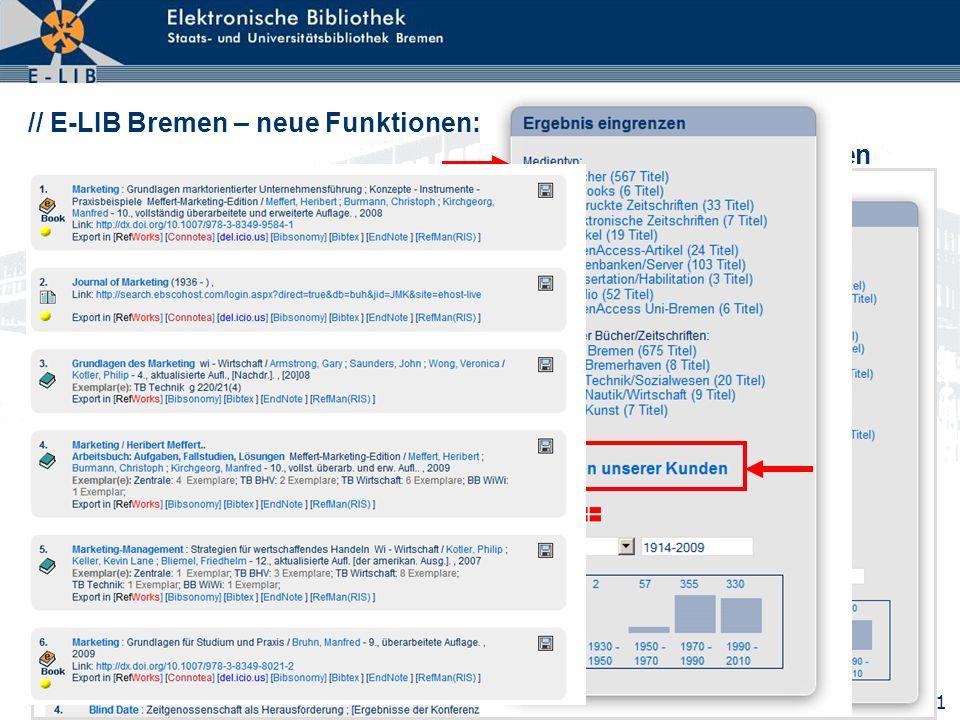 // E-LIB Bremen – neue Funktionen: Drill Down auf relevante Medien verengen