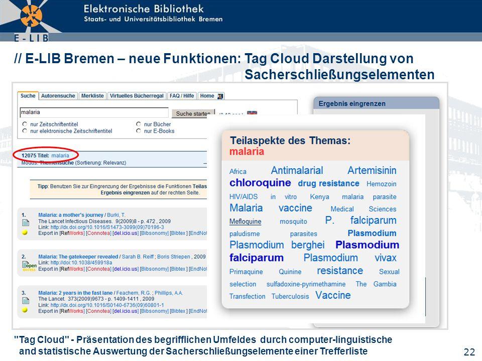 // E-LIB Bremen – neue Funktionen: Tag Cloud Darstellung von Sacherschließungselementen