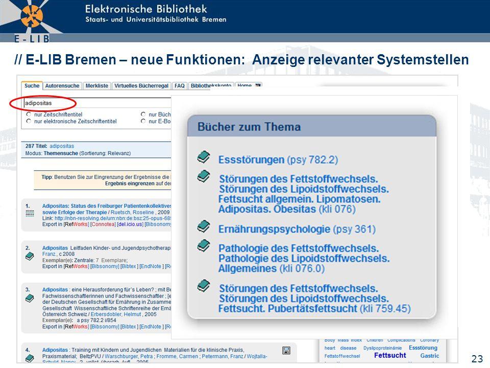 // E-LIB Bremen – neue Funktionen: Anzeige relevanter Systemstellen