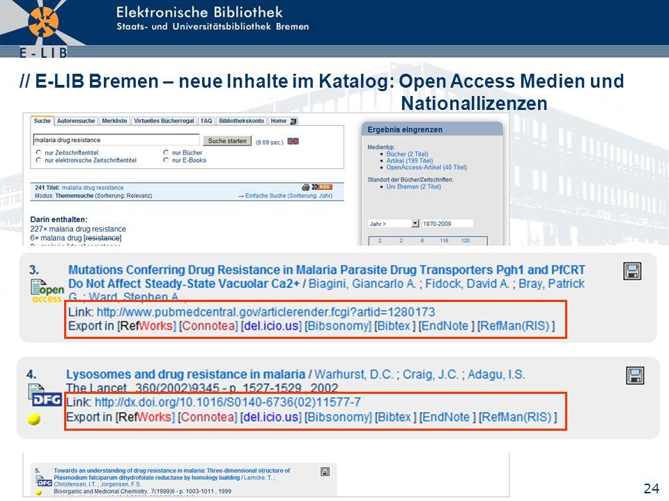 // E-LIB Bremen – neue Inhalte im Katalog: Open Access Medien und Nationallizenzen