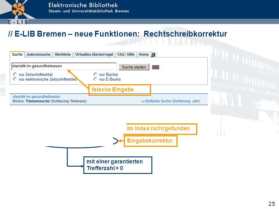 // E-LIB Bremen – neue Funktionen: Rechtschreibkorrektur
