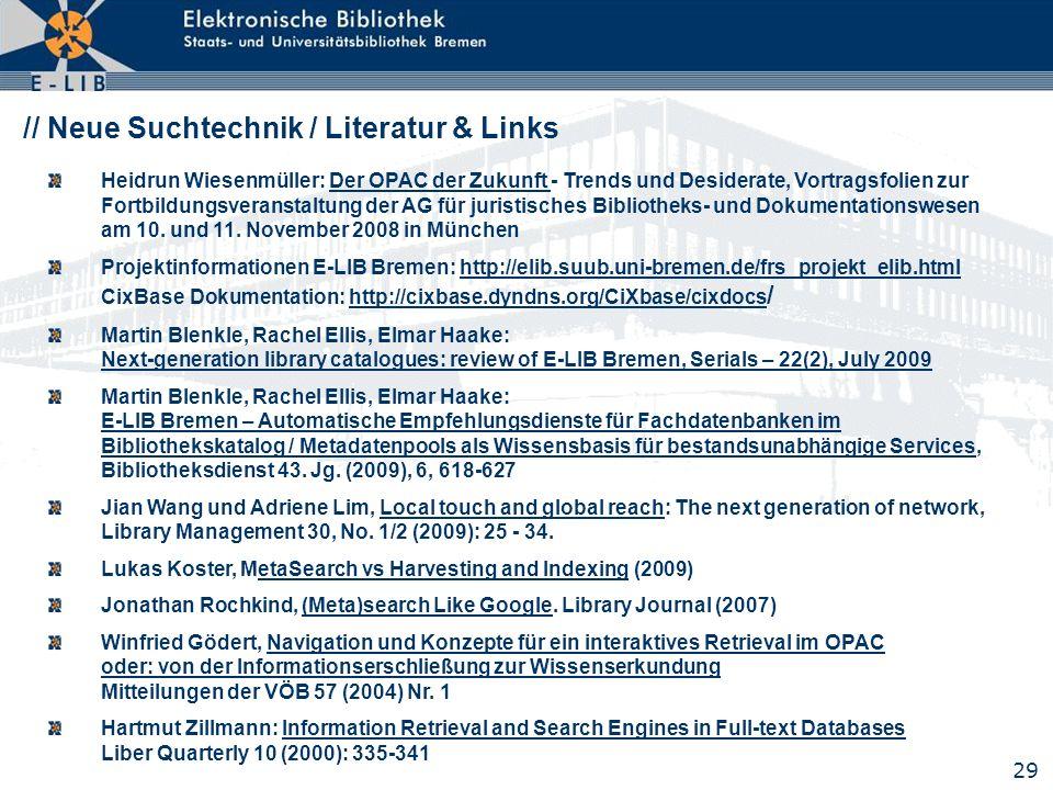 // Neue Suchtechnik / Literatur & Links