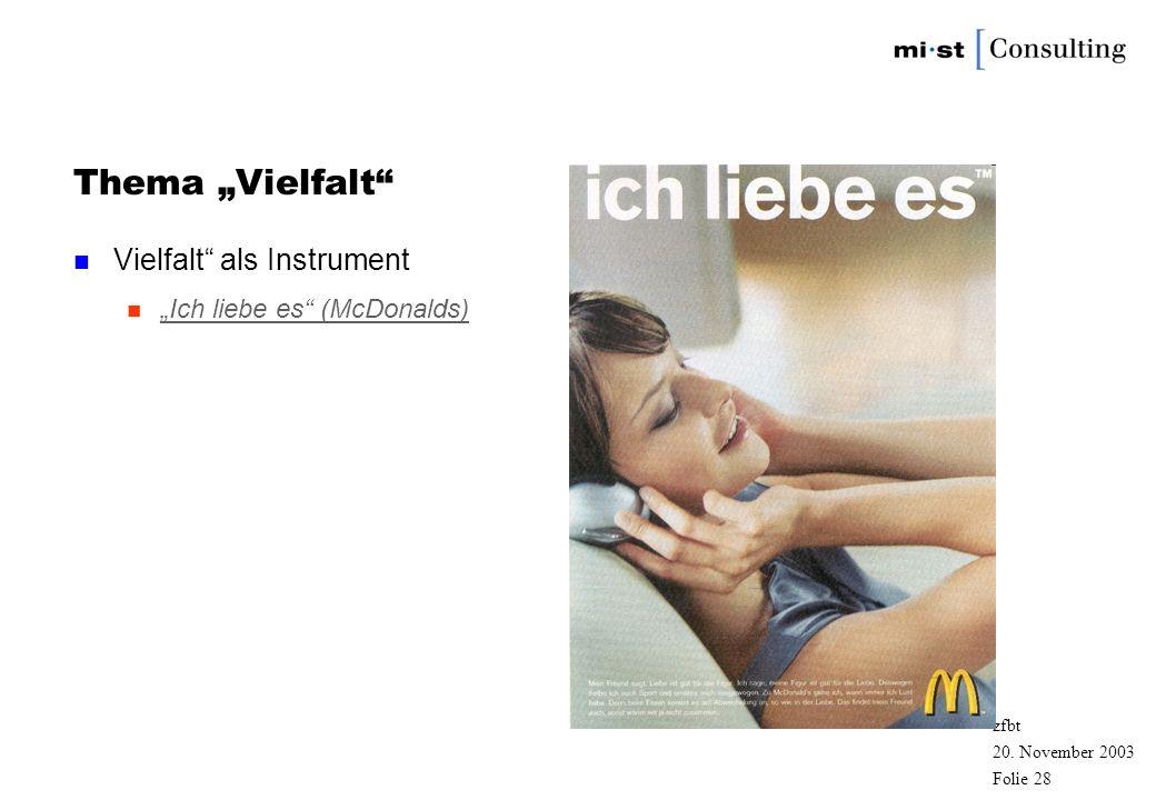 """Thema """"Vielfalt Vielfalt als Instrument """"Ich liebe es (McDonalds)"""