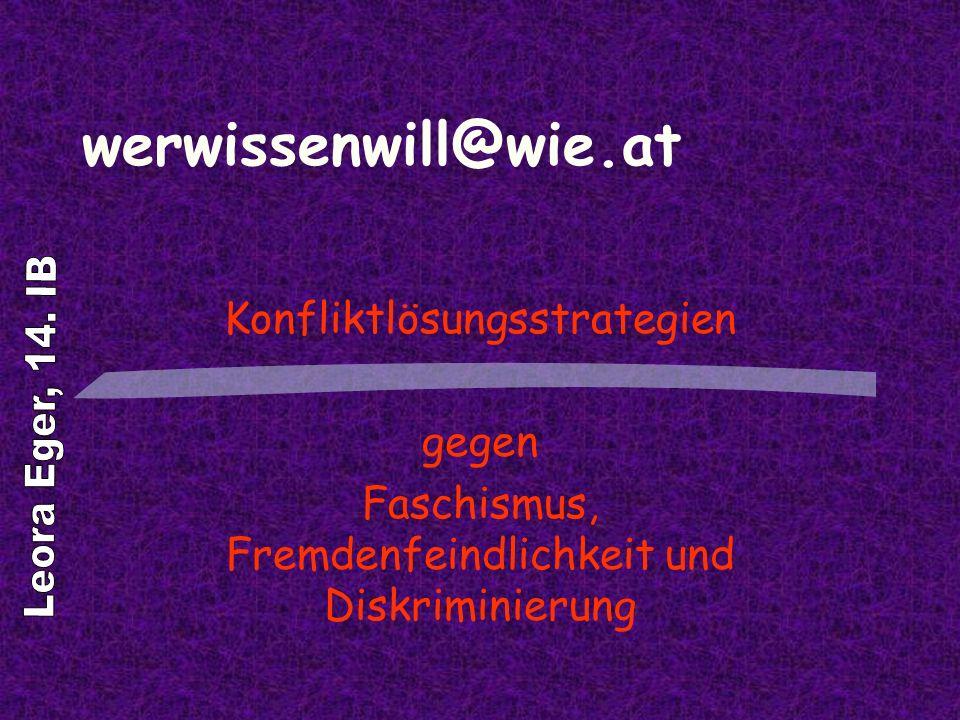 werwissenwill@wie.at Leora Eger, 14. IB Konfliktlösungsstrategien