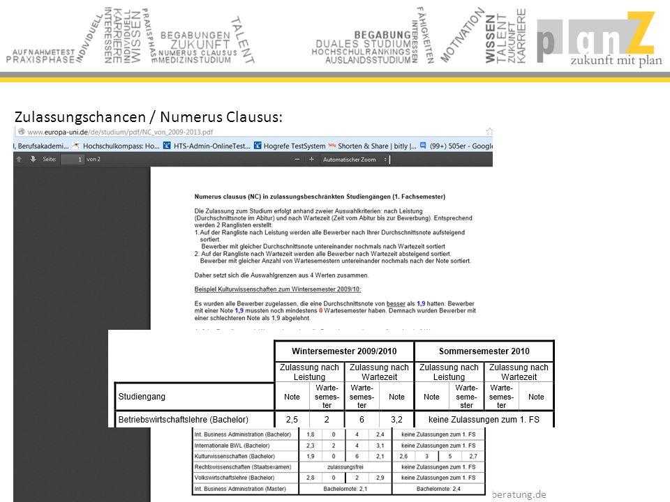 Zulassungschancen / Numerus Clausus:
