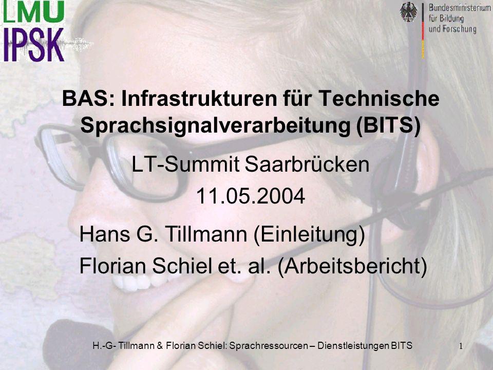 BAS: Infrastrukturen für Technische Sprachsignalverarbeitung (BITS)