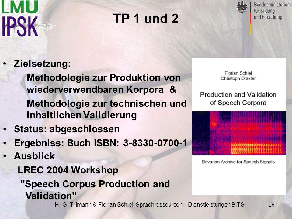 TP 1 und 2 Zielsetzung: Methodologie zur Produktion von wiederverwendbaren Korpora & Methodologie zur technischen und inhaltlichen Validierung.